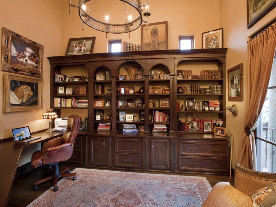 Nice Home Office With Built In Wood Shelving