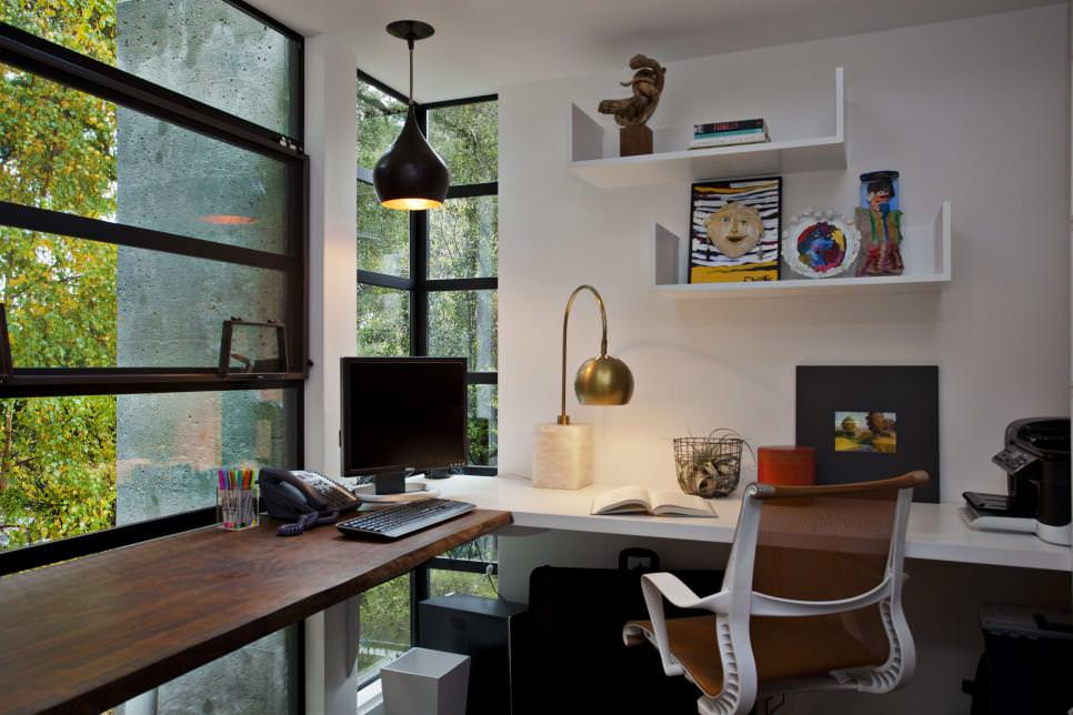 Contemporary Home Office with simple shelves design