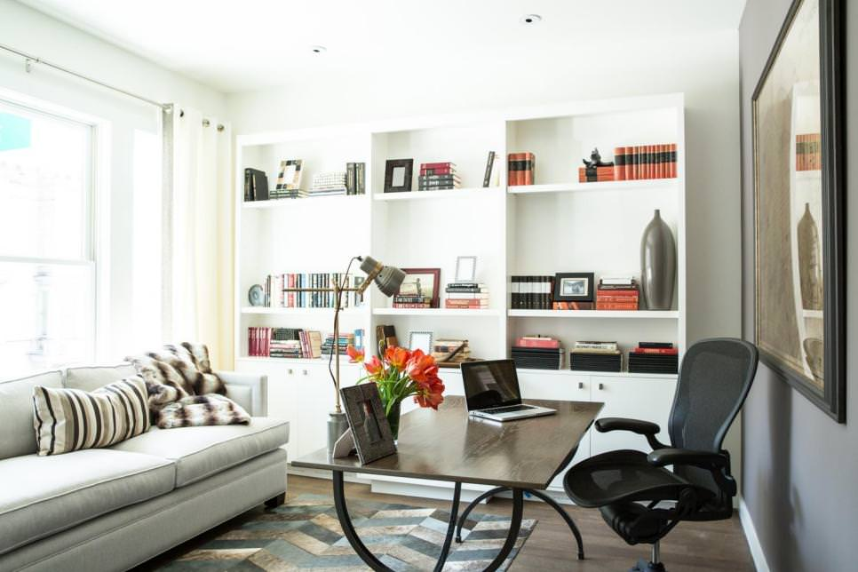 Contemporary Home Office with white shelves