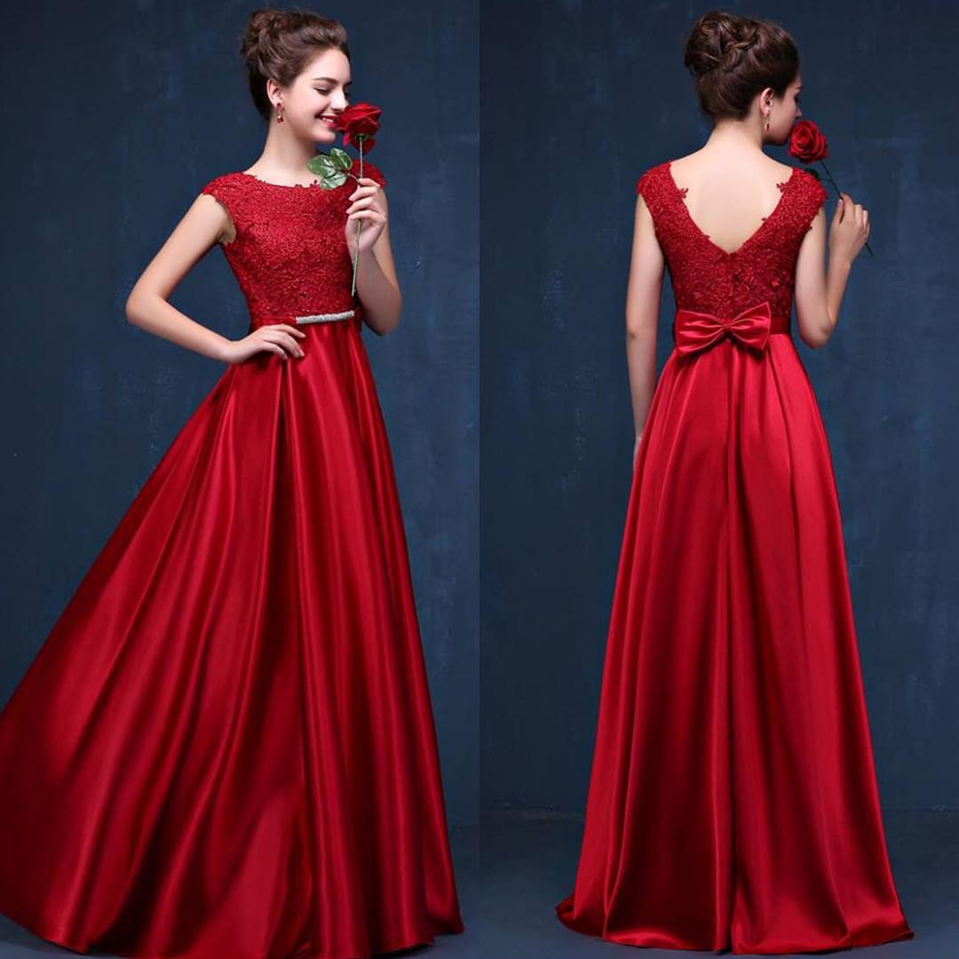 red floral party gown