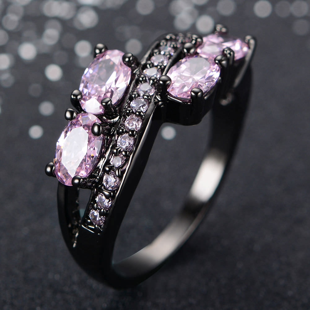 Shiny Black & Pink Ring
