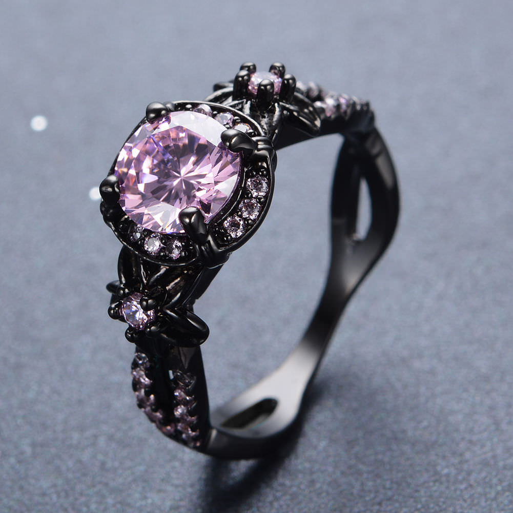 Pink Crystal Black Gold Ring For Women
