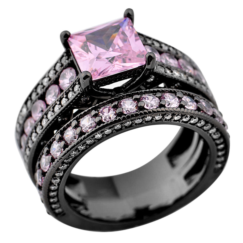 29 Pink And Black Wedding Rings Ring Designs Design