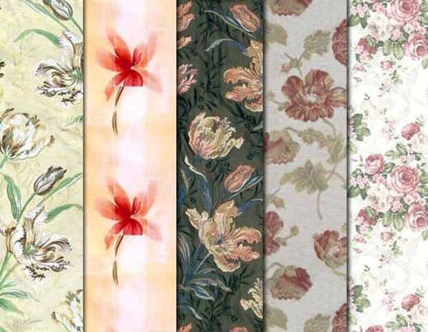 Set of Fabric Floral Pattern