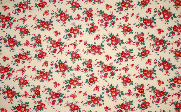 Red Floral Fabric Pattern