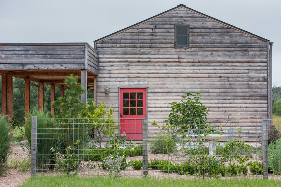 ranch exterior with red door design