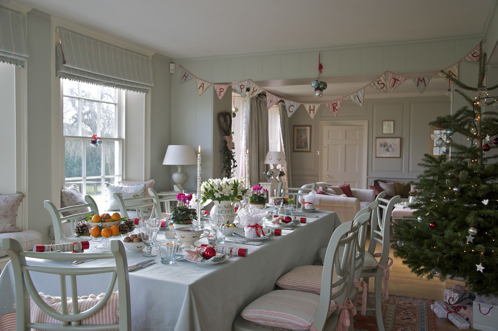 white shabby chic dining room