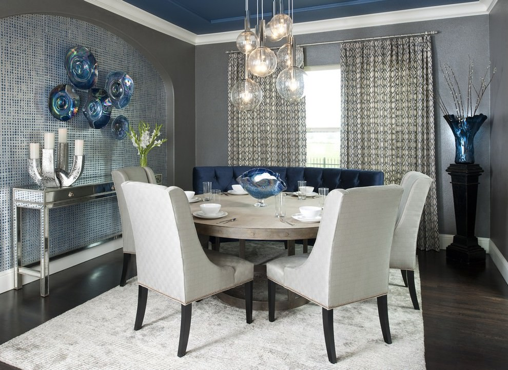 contemporary navy blue dining room design
