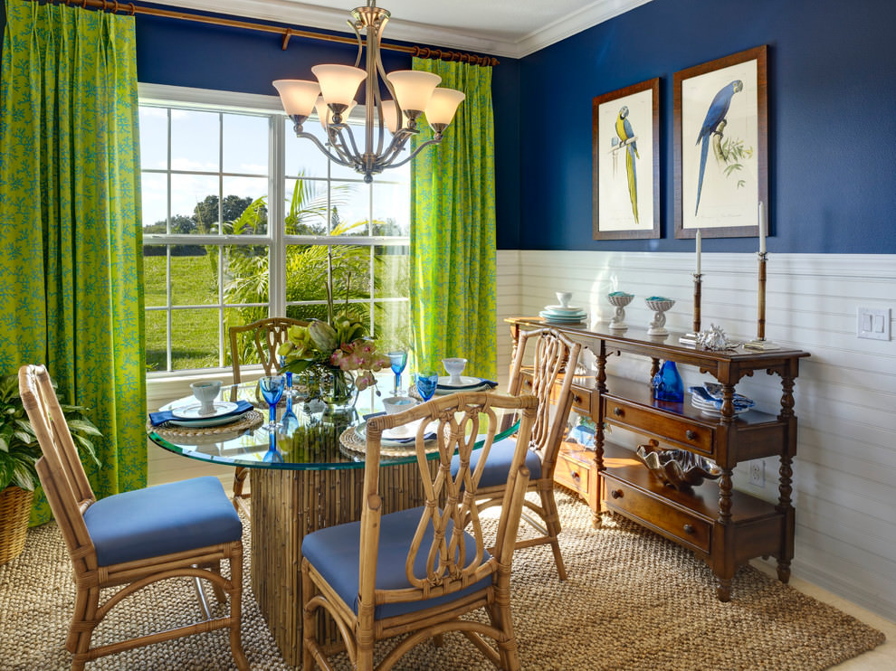 25 blue dining room designs decorating ideas design for Tropical dining room ideas