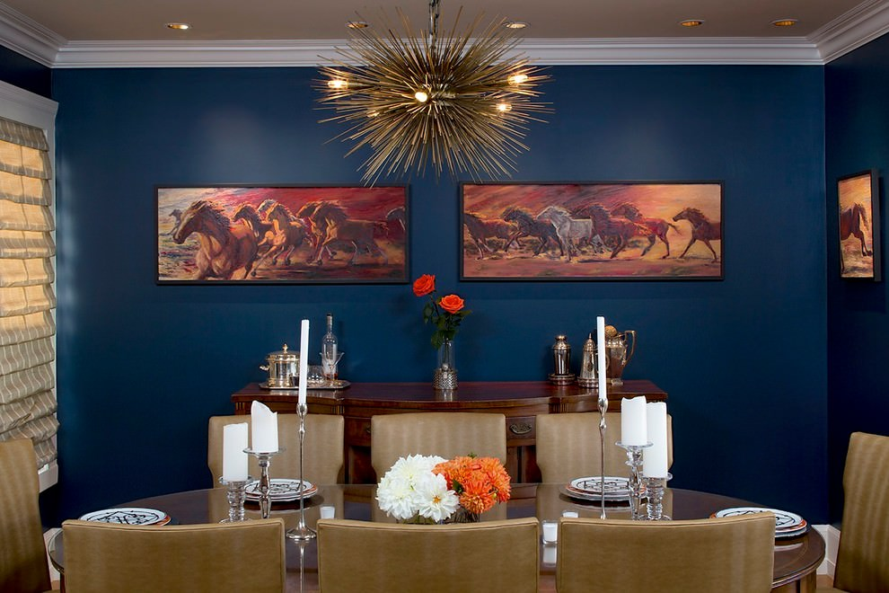 elegant blue dining room design