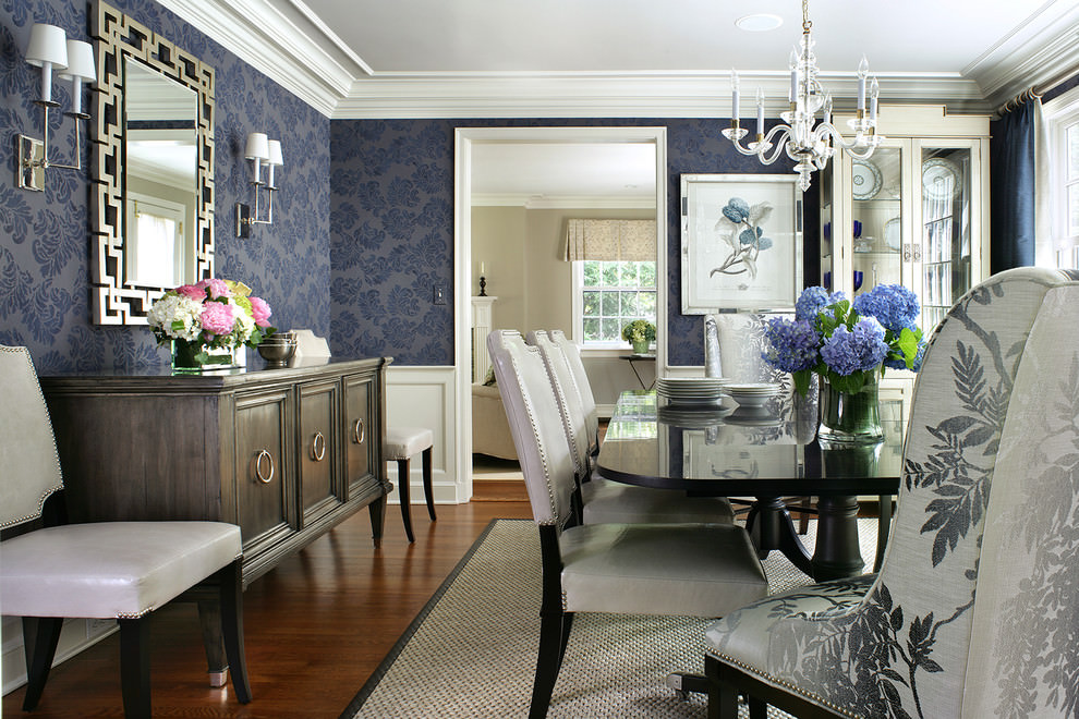 25 blue dining room designs decorating ideas design for Modern wallpaper designs for dining room