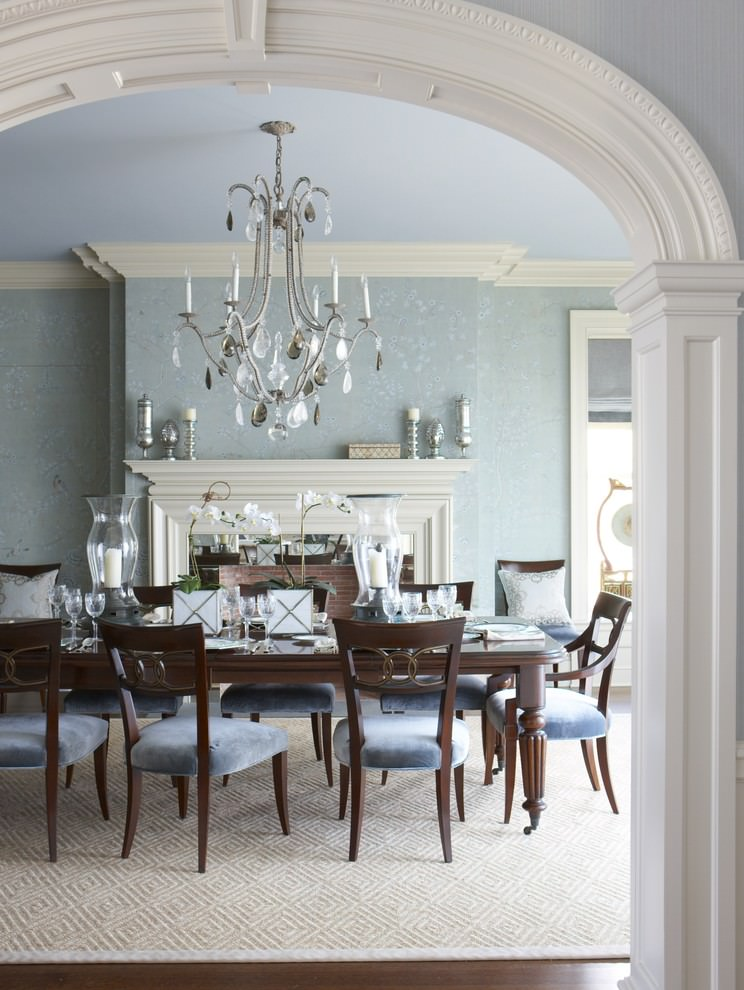25 blue dining room designs decorating ideas design for Beautiful dining room photos