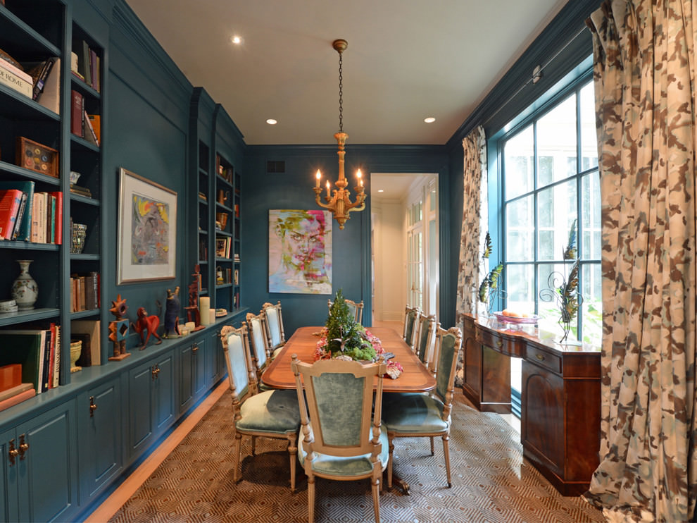 Eclectic thick blue dining room design