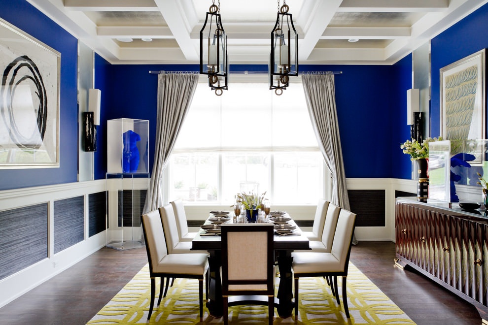 contemporary modern blue dining room design