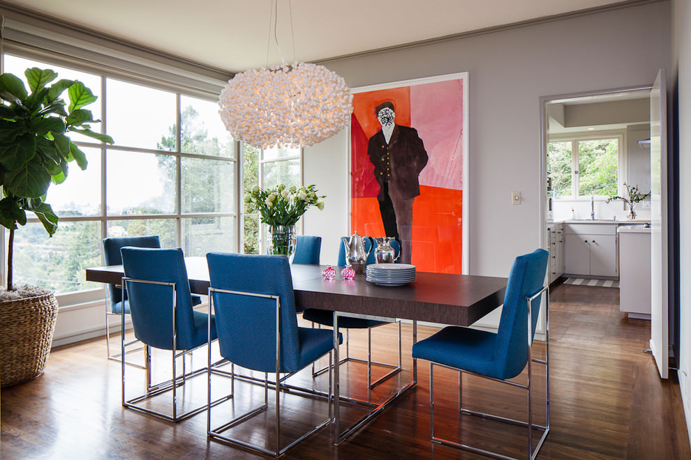 Dining room design with blue chairs