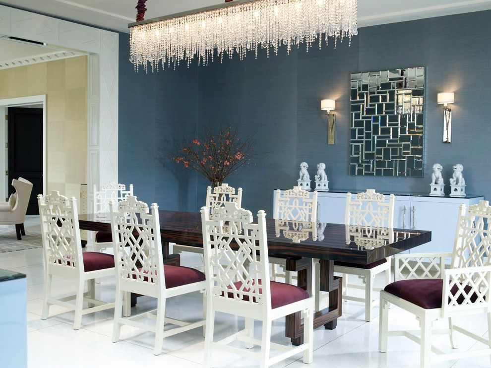 Cool Blue Dining Room Design With Rectangular Chandelier