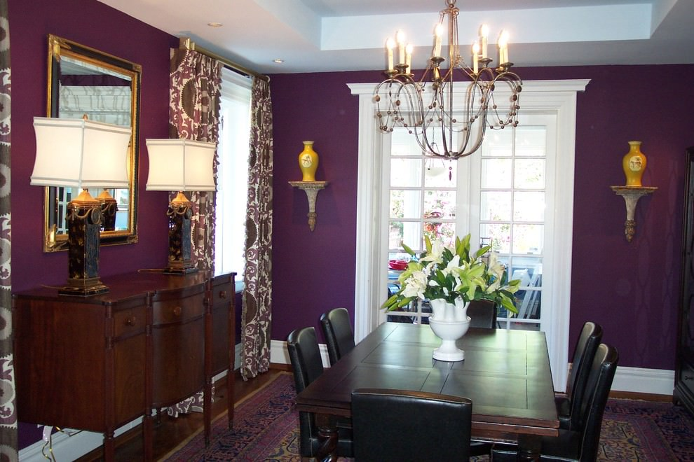 Traditional Purple Dining Room