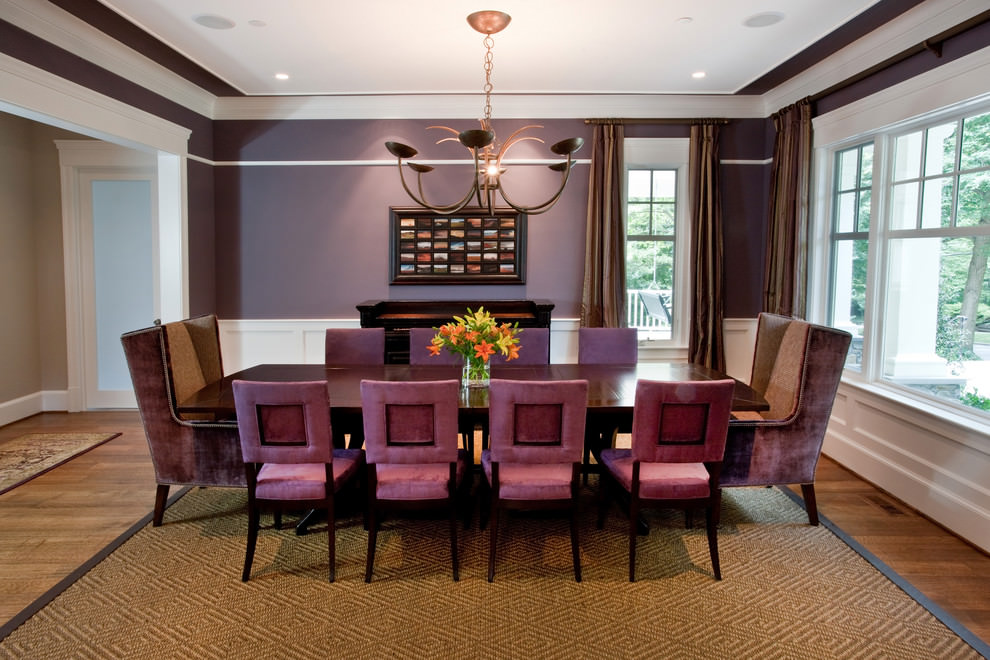Transitional Purple Dining Room