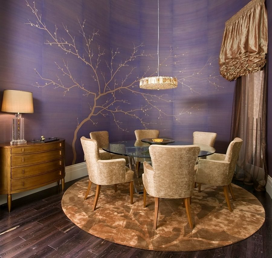 Artistic Purple Dining Room