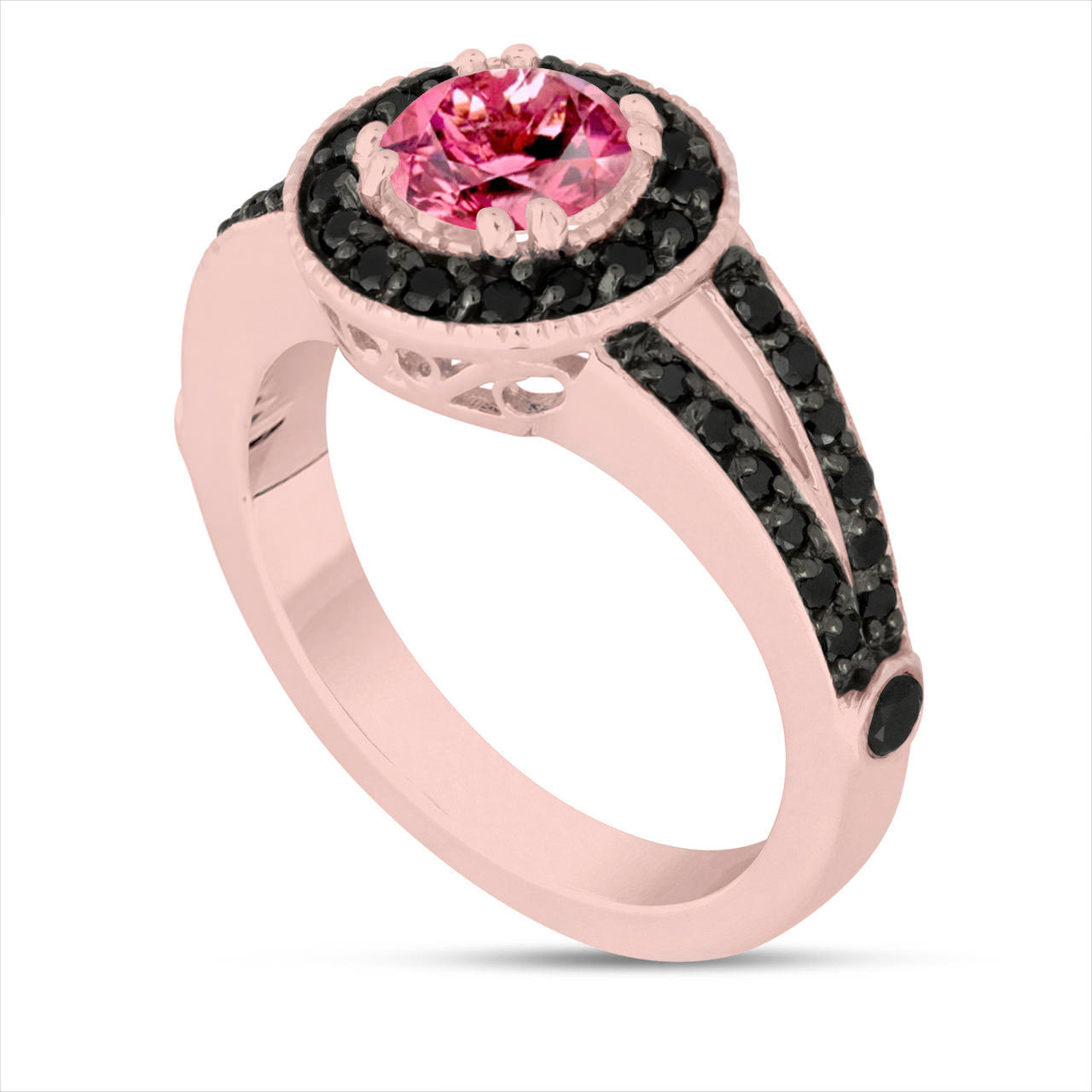 rose silver plated gold pink p sapphire pav ring band pave rings in eternity over