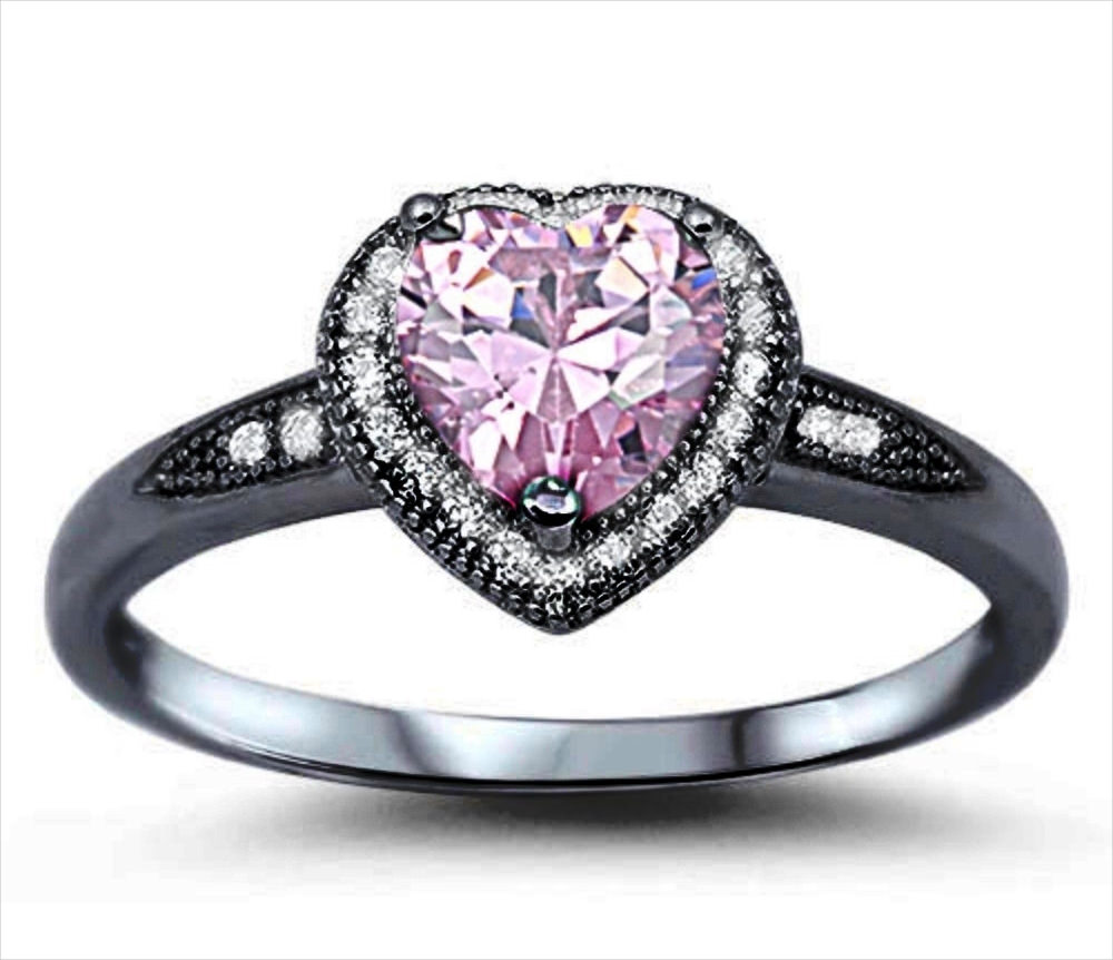22 black and pink wedding rings designs trends design for Wedding rings with pink