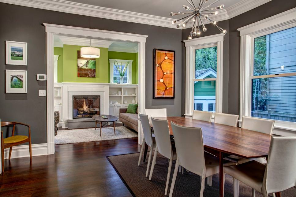 charcoal gray dining room design