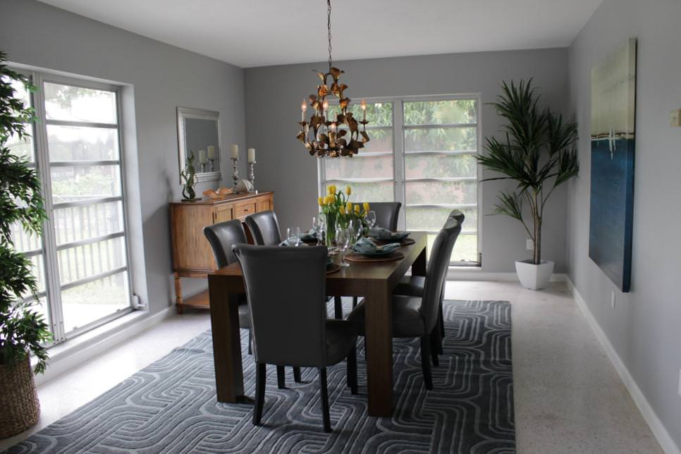 Formal gray Dining Room design