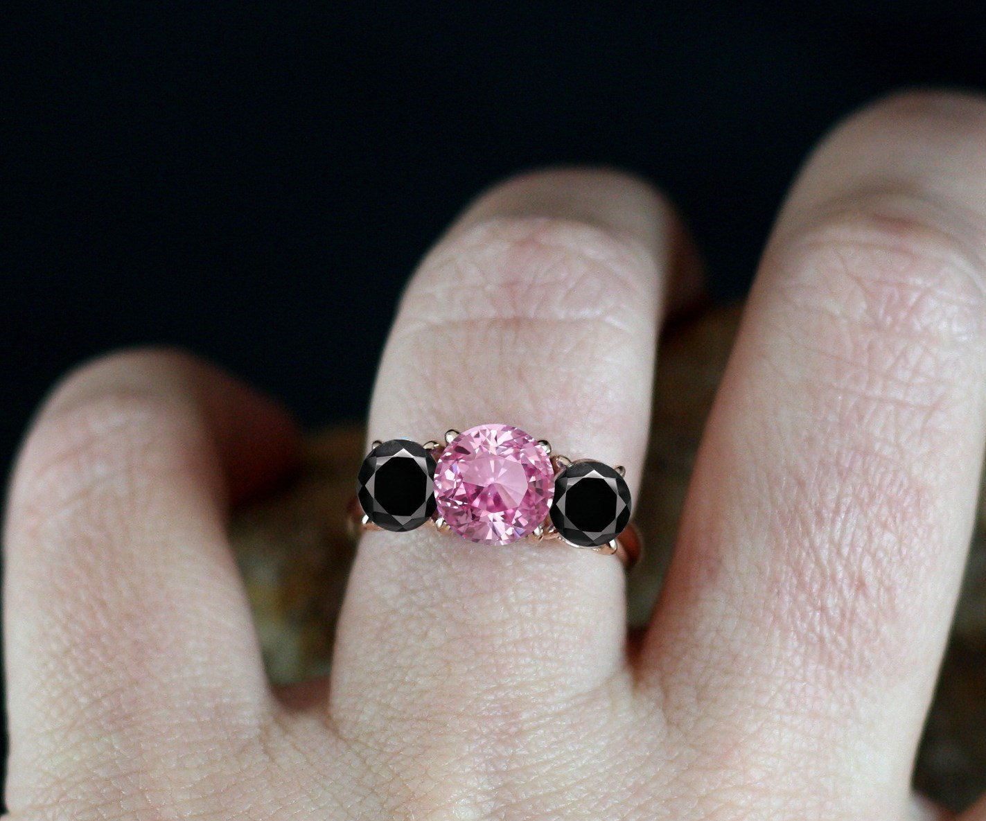 Pink and Black Rose Gold Ring