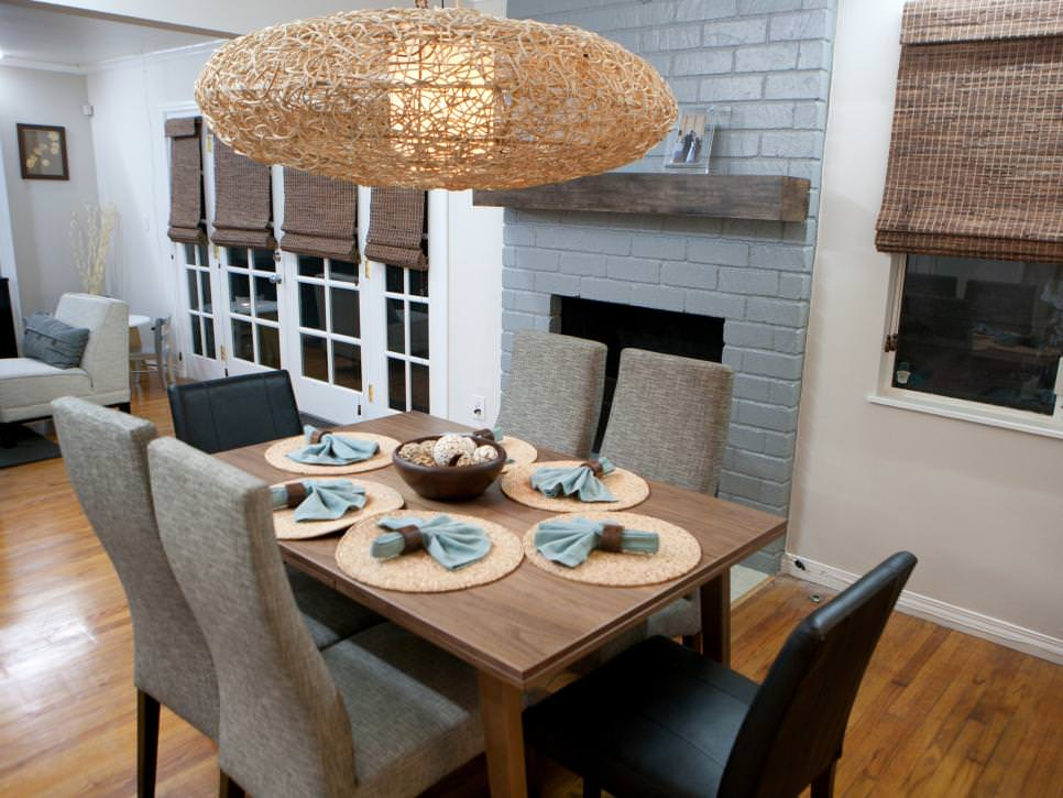 dining room with gray brick design