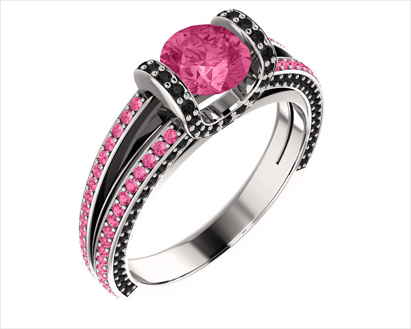 Wedding Black and Pink Ring