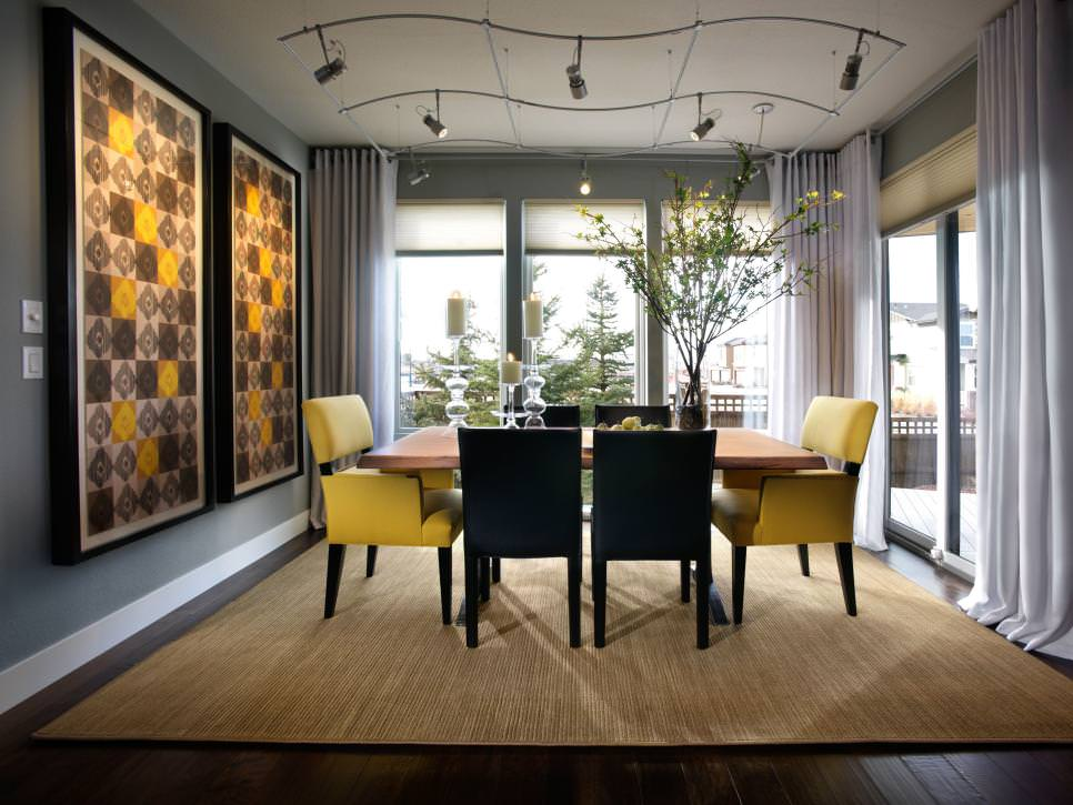 gray dining room with yellow accents