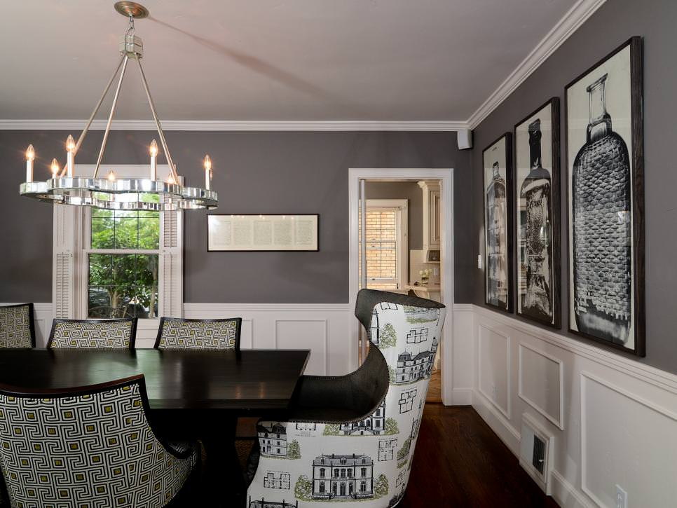 25 grey dining room designs decorating ideas design for Black dining room walls
