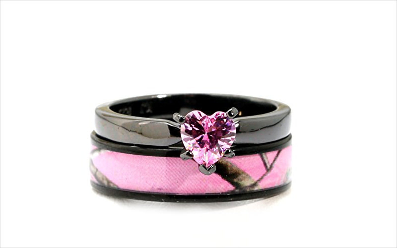 Black Plated Pink Wedding Ring