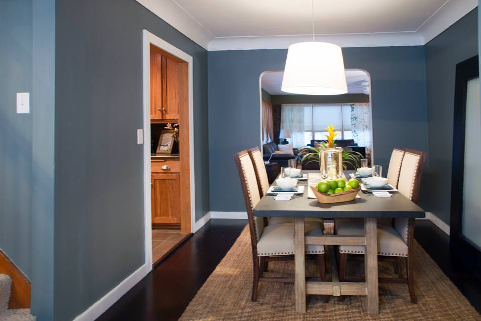 dining room shines in gray