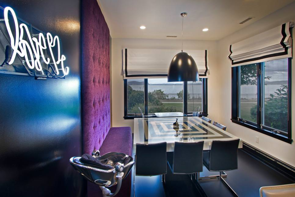Simple Purple Dining Room Design