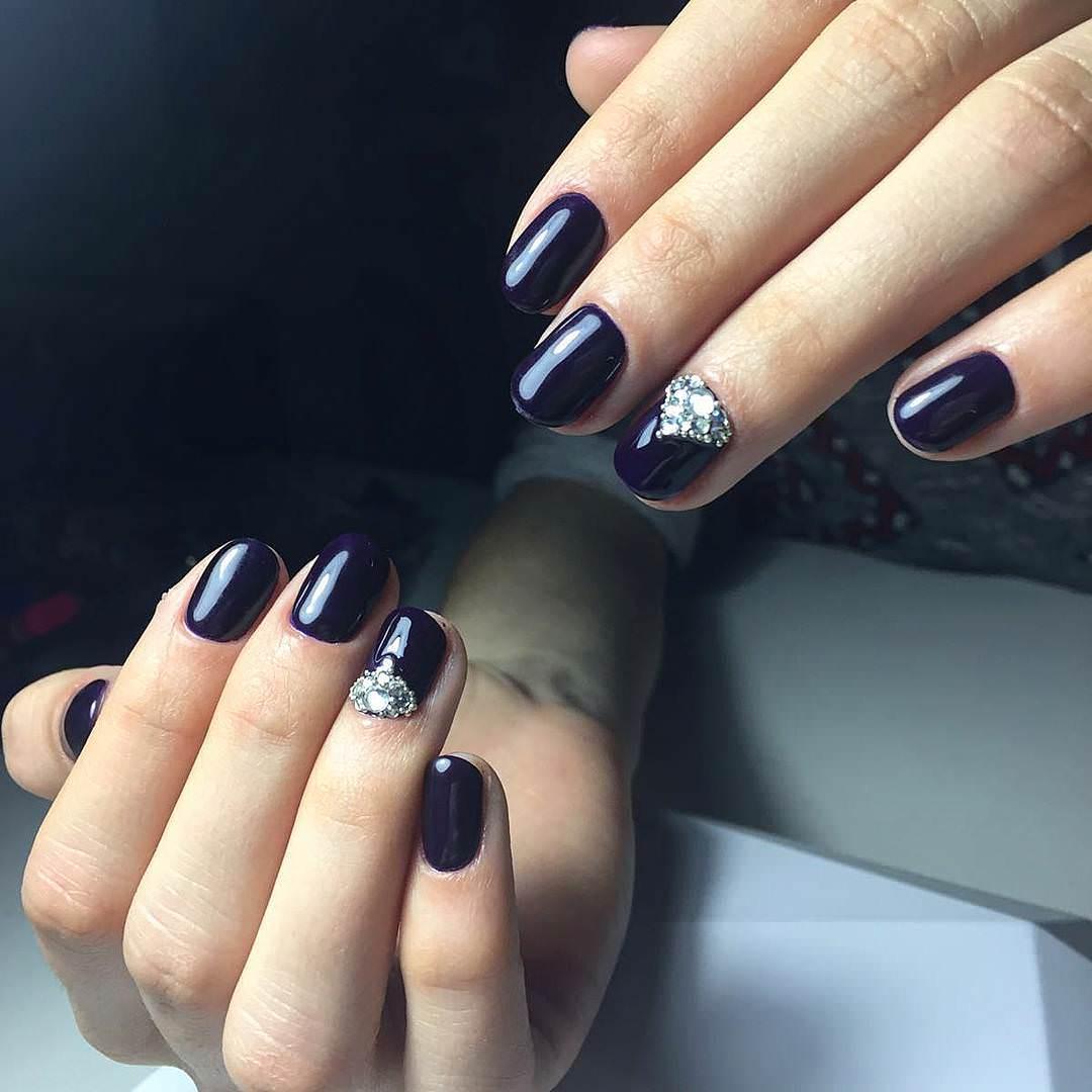 Stones-Dark Blue Nail Design