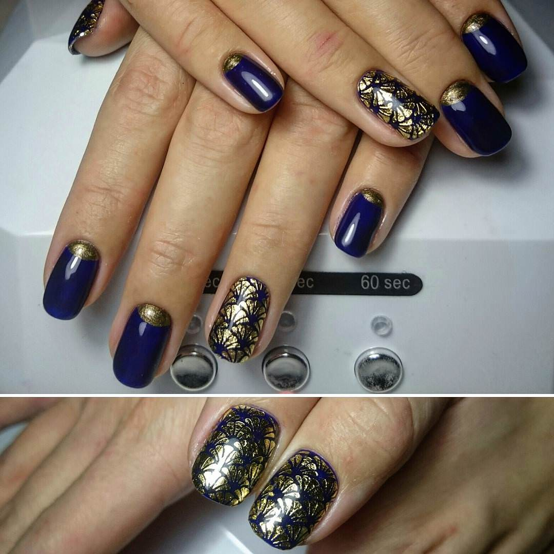 Nail Design Blue Gold: Gallery for gt navy blue and gold nail designs.