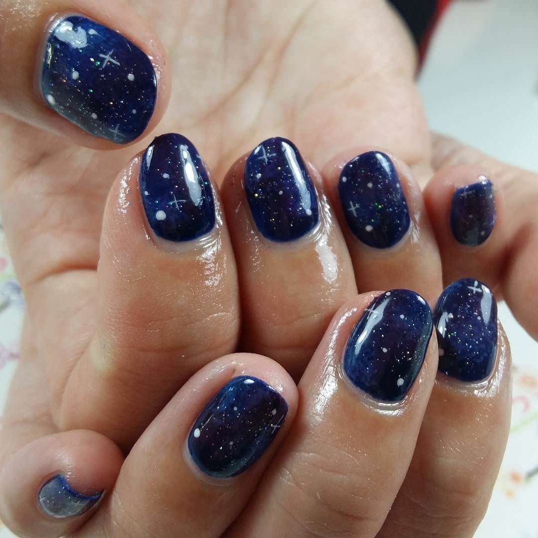 25+ Dark Blue Nail Art Designs, Ideas