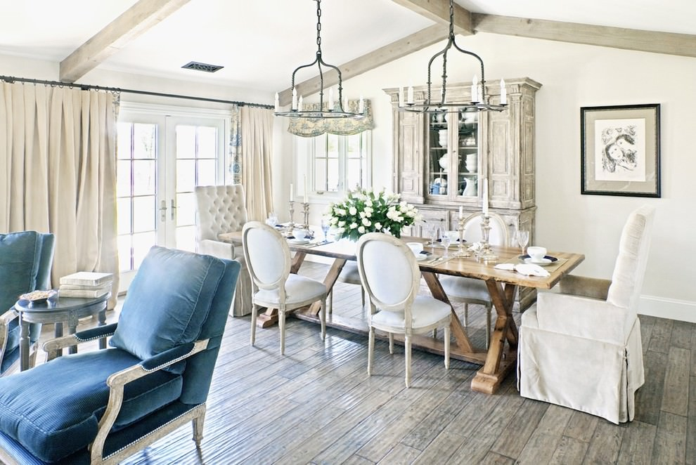 milky white shabby chic dining room