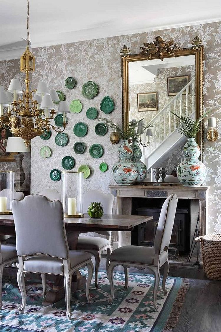 flat white shabby chic dining room