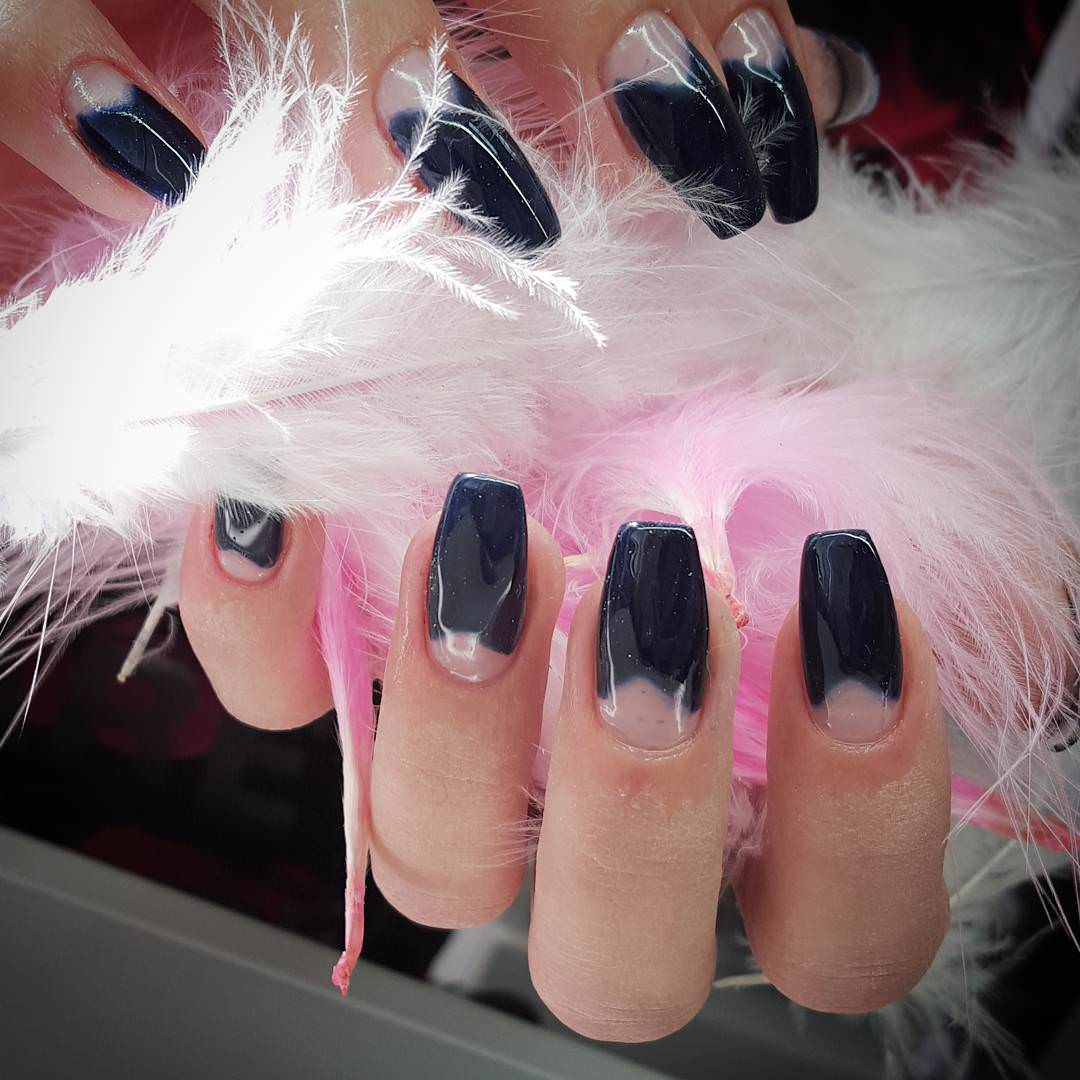 Shining Dark Blue Nail Design