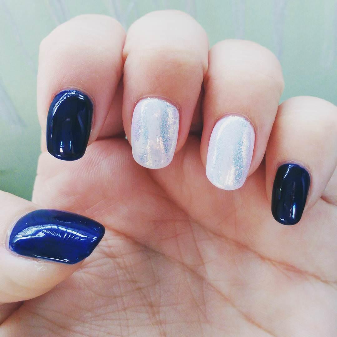 Silver & Dark Blue Nail Design