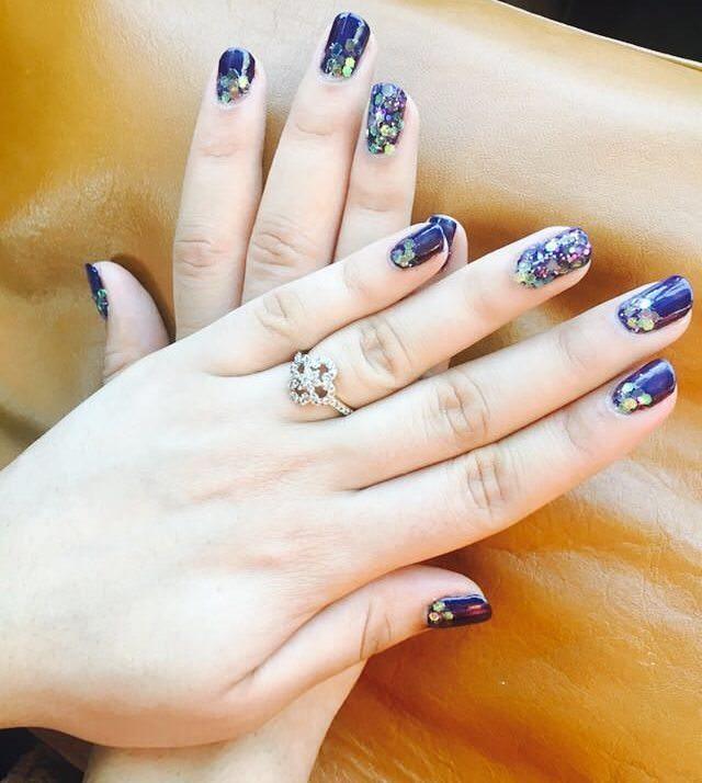 Attractive Dark Blue Nail Design