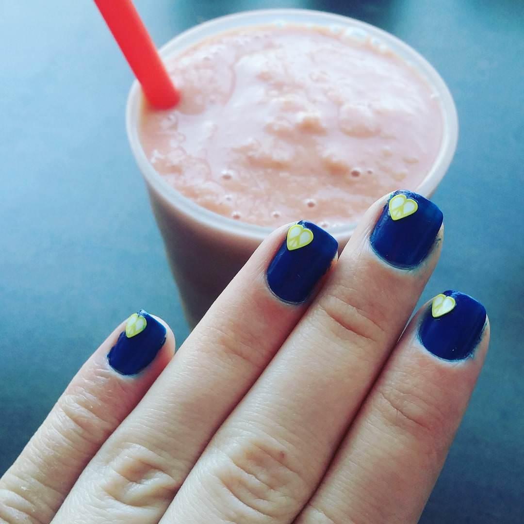 Love-Dark Blue Nail Design