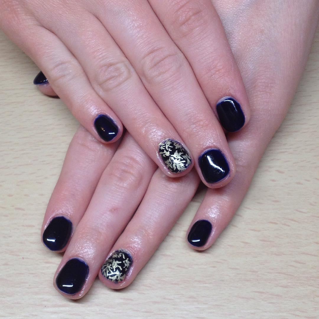 Silver Flower-Dark Blue Nail Design