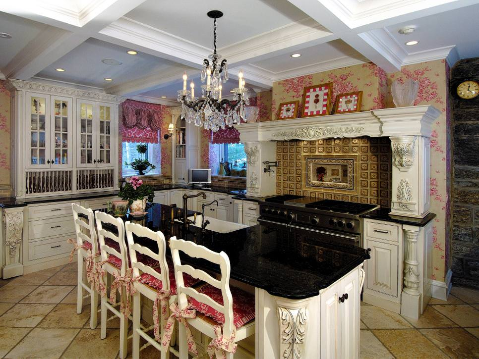 Pink floral wallpaper design in kitchen