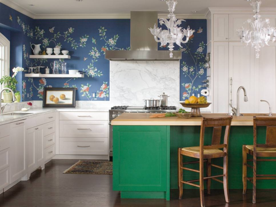 white kitchen with blue floral accents