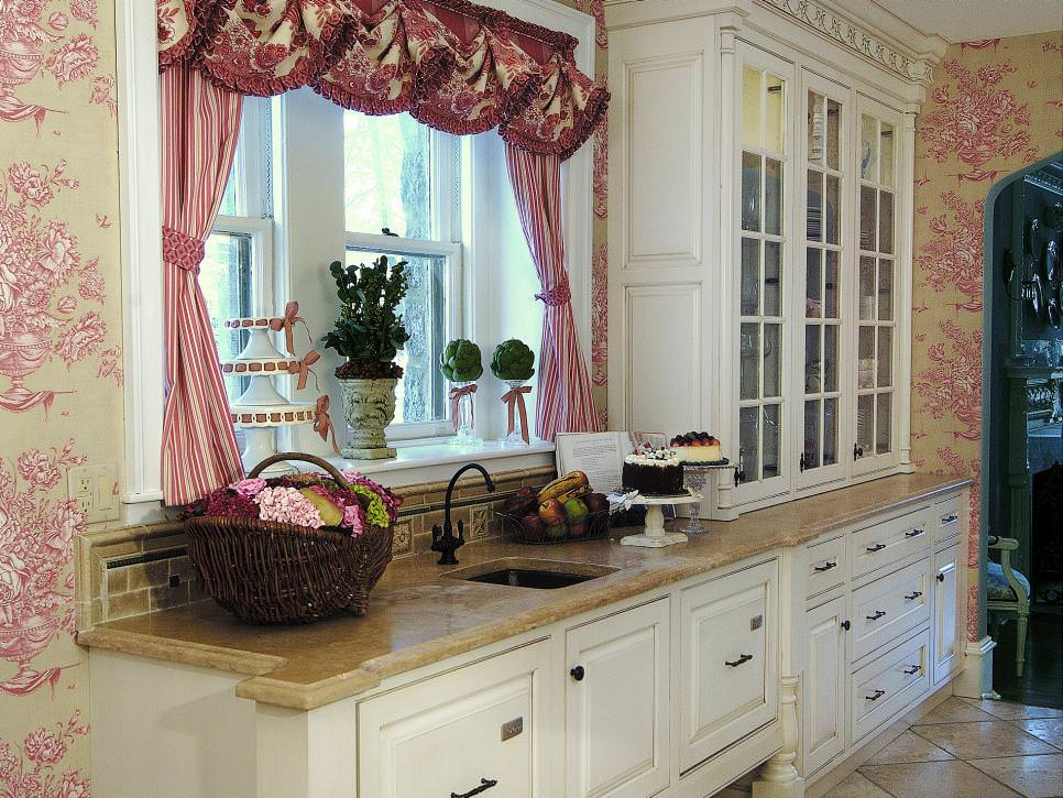 Kitchen With Floral Toil Wallpaper