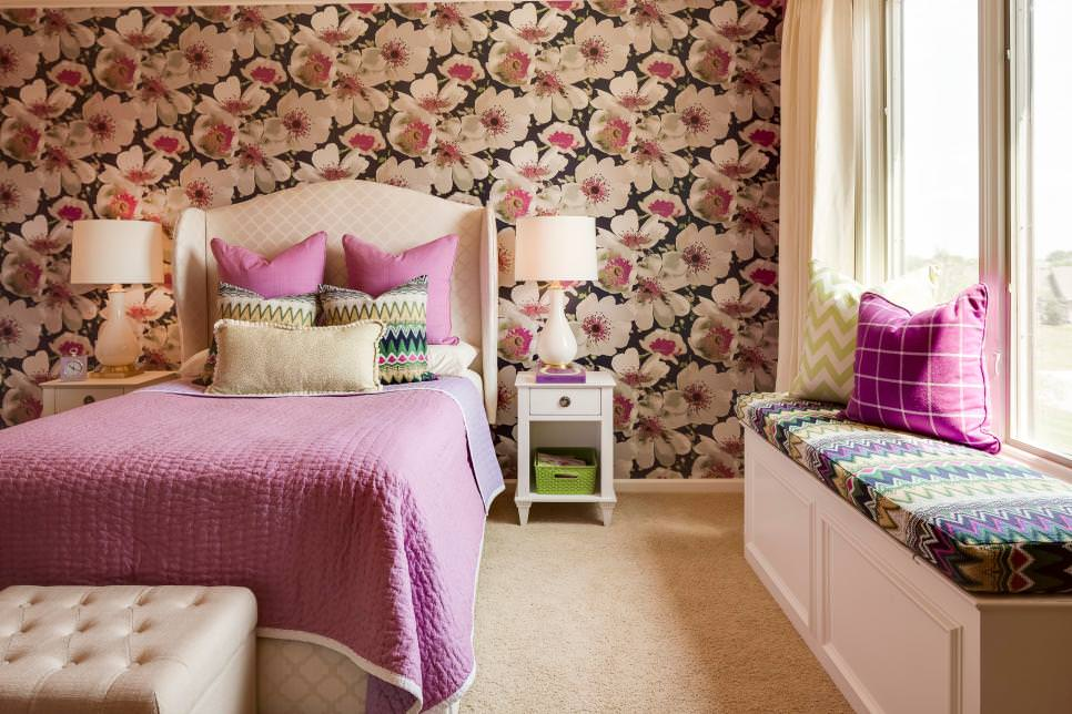Teen Bedroom With Floral Wallpaper design