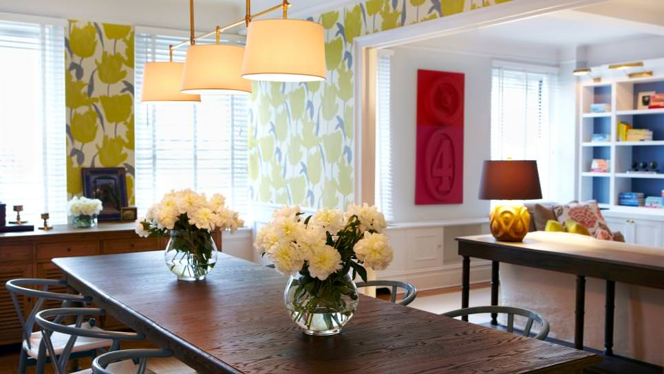Transitional Dining Room With Green Floral Wallpaper
